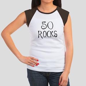 50th birthday saying, 50 rocks! Women's Cap Sleeve