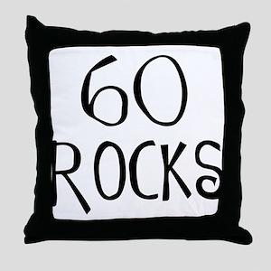 60th birthday saying, 60 rocks! Throw Pillow