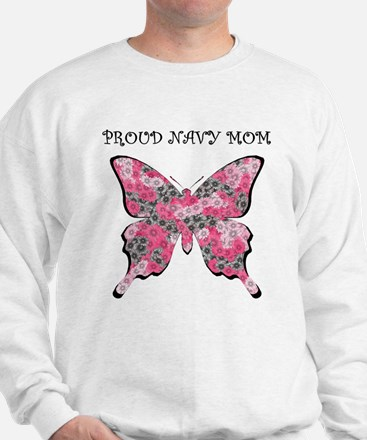 Proud Navy Mom Pink Butterfly Jumper