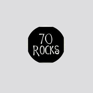 70th birthday saying, 70 rocks! Mini Button