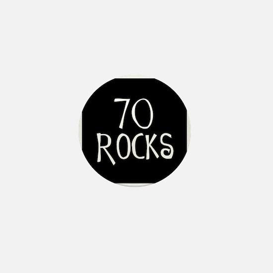 70th birthday saying, 70 rocks! Mini Button