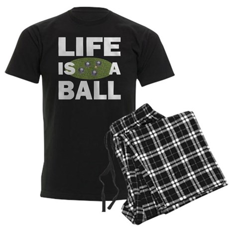Life Is A Ball Bocce Men's Dark Pajamas