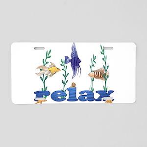 Relax Tropical Fish Aluminum License Plate