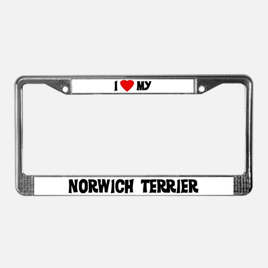 I Love My Norwich Terrier License Plate Frame