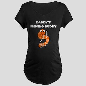 Daddy's Fishing Buddy Maternity Dark T-Shirt