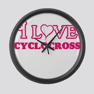 I Love Cyclocross Large Wall Clock