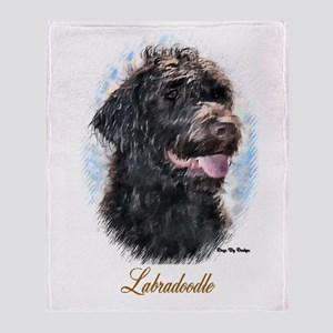 Labradoodle Art Throw Blanket