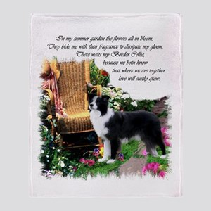 Border Collie Art Throw Blanket