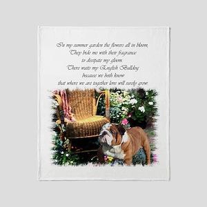 English Bulldog Art Throw Blanket