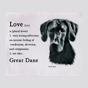 Black Great Dane Throw Blanket