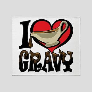I Love Gravy Throw Blanket