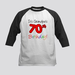 Its Grandpas 70th Birthday Kids Baseball Jersey