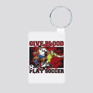 Give Blood Play Soccer Aluminum Photo Keychain