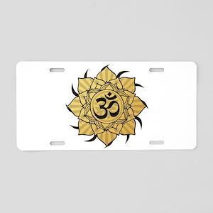 Golden Lotus Aum Aluminum License Plate