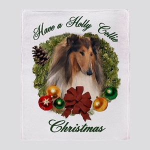 Collie Christmas Throw Blanket