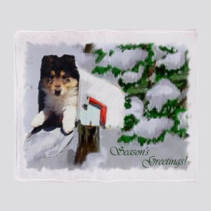 Collie Puppy Christmas Throw Blanket