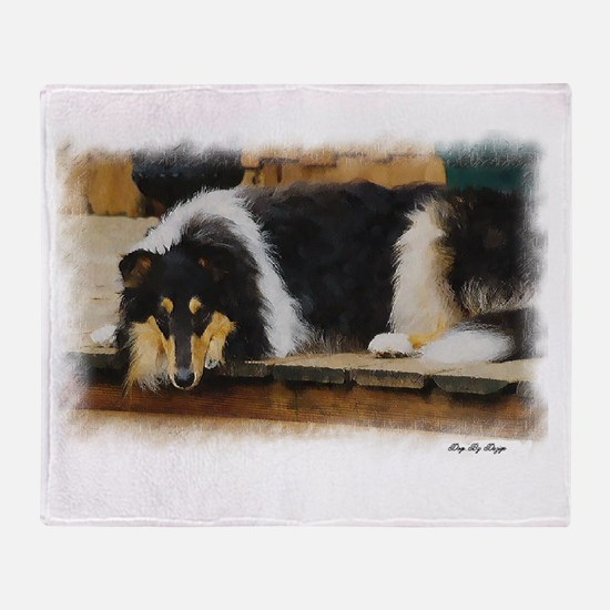 Tri Color Collie Throw Blanket
