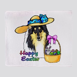 Easter Collie Throw Blanket