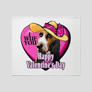 Basset Hound Valentines Throw Blanket
