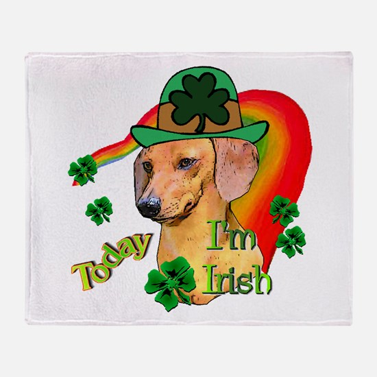 St Pattys Dachshund Throw Blanket
