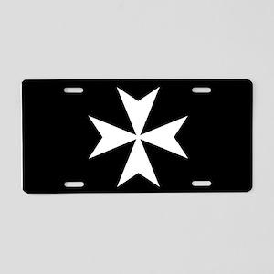 White Maltese Cross Aluminum License Plate