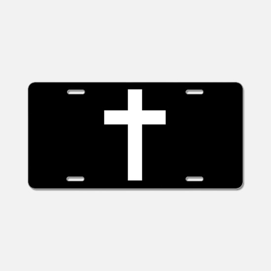 White Cross Aluminum License Plate
