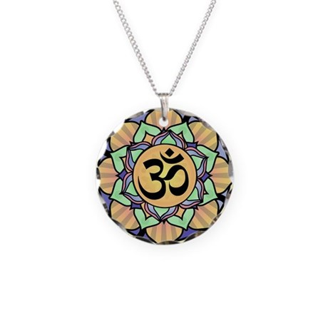 Rainbow Lotus Aum Necklace Circle Charm