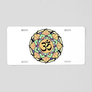 Rainbow Lotus Aum Aluminum License Plate
