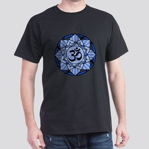 Aum Lotus Mandala (Blue) Dark T-Shirt