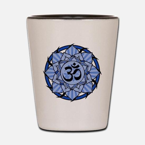 Aum Lotus Mandala (Blue) Shot Glass