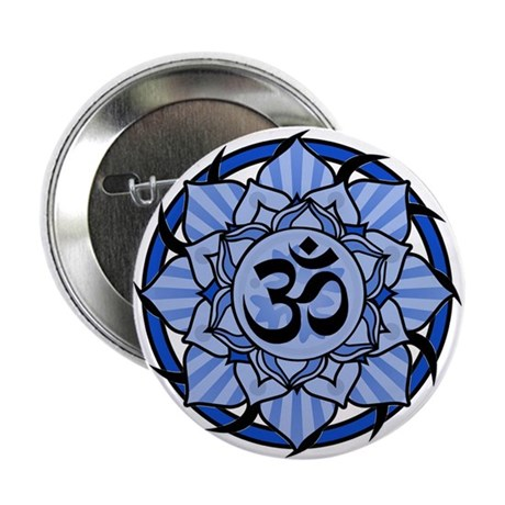 "Aum Lotus Mandala (Blue) 2.25"" Button (10 pack)"