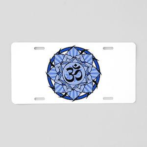 Aum Lotus Mandala (Blue) Aluminum License Plate