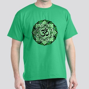 Aum Lotus Mandala (Green) Dark T-Shirt