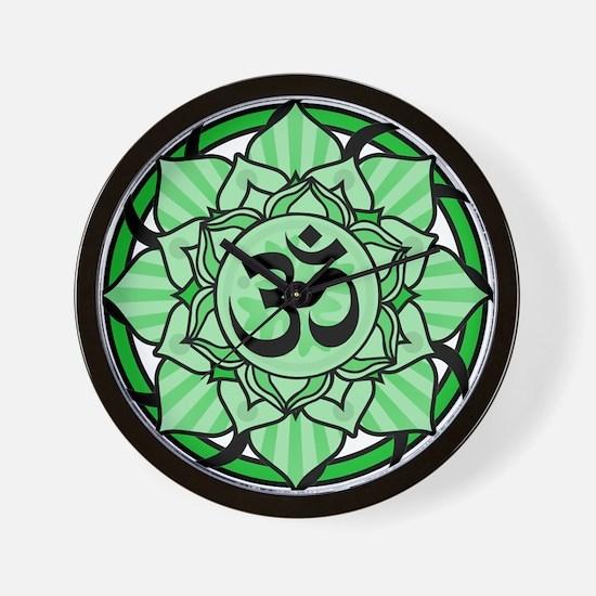 Aum Lotus Mandala (Green) Wall Clock