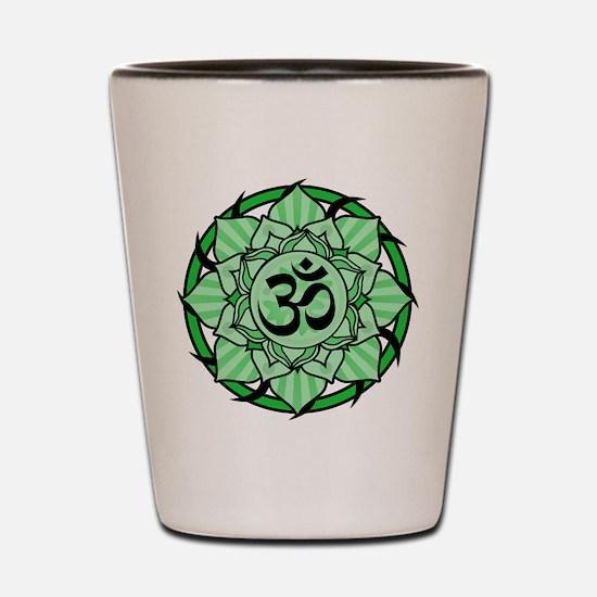 Aum Lotus Mandala (Green) Shot Glass