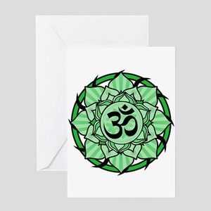 Aum Lotus Mandala (Green) Greeting Card