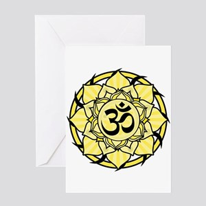 Aum Lotus Mandala (Yellow) Greeting Card