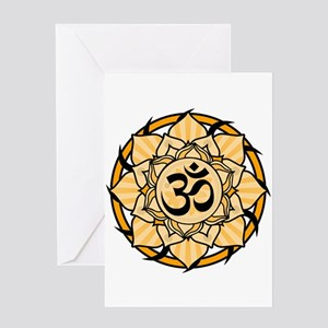 Aum Lotus Mandala (Orange) Greeting Card