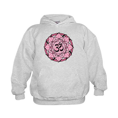 Aum Lotus Mandala (Pink) Kids Hoodie