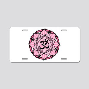 Aum Lotus Mandala (Pink) Aluminum License Plate