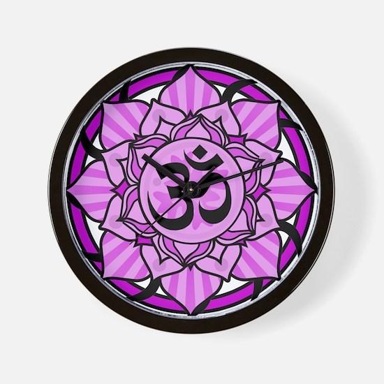 Aum Lotus Mandala (Purple) Wall Clock