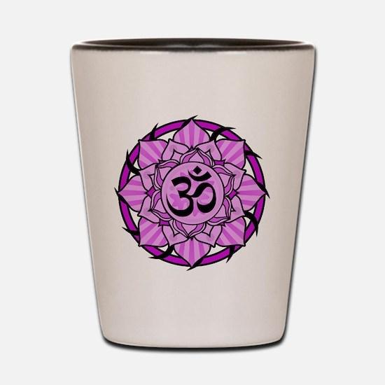 Aum Lotus Mandala (Purple) Shot Glass