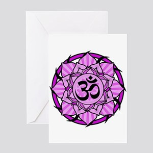Aum Lotus Mandala (Purple) Greeting Card
