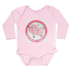 Flying Pig Long Sleeve Infant Bodysuit