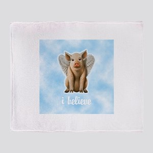 I Believe Flying Pig Throw Blanket