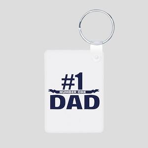 Number 1 DAD Aluminum Photo Keychain