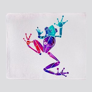 Crazy Purple Tree Frog Throw Blanket