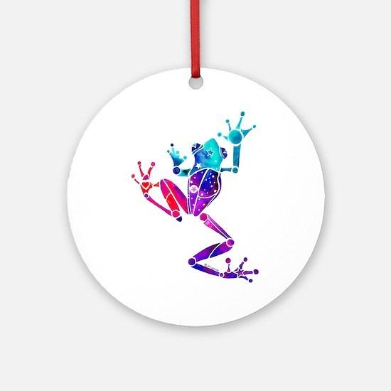 Crazy Purple Tree Frog Ornament (Round)