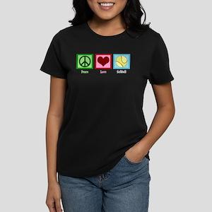 Peace Love Softball Women's Dark T-Shirt