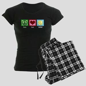 Peace Love Softball Women's Dark Pajamas